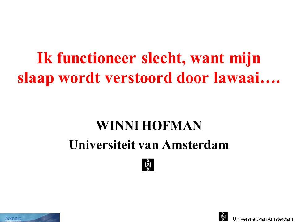 Universiteit van Amsterdam Ik functioneer slecht, want mijn slaap wordt verstoord door lawaai…. WINNI HOFMAN Universiteit van Amsterdam