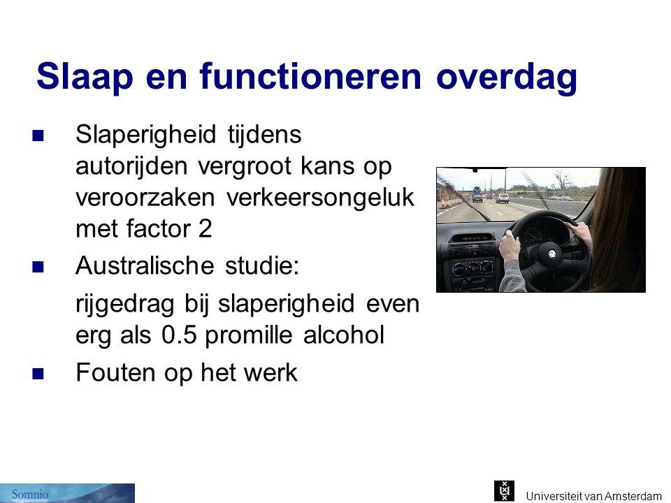Universiteit van Amsterdam Slaap en functioneren overdag Slaperigheid tijdens autorijden vergroot kans op veroorzaken verkeersongeluk met factor 2 Aus