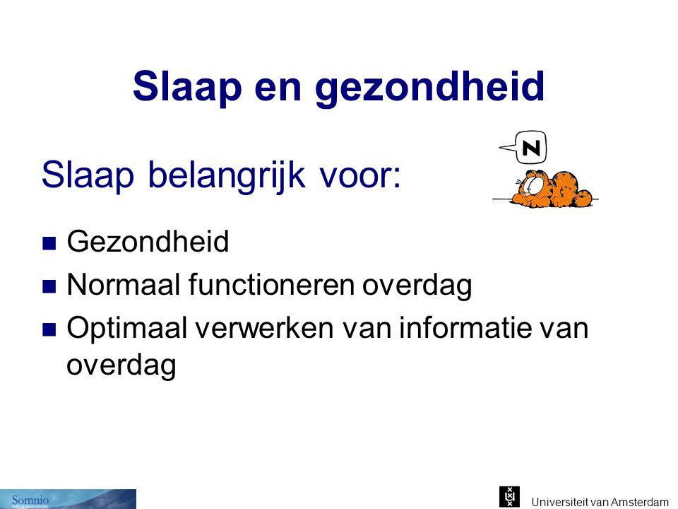 Universiteit van Amsterdam Lichaamsbewegingen Schipholstudie (TNO/RIVM) in 2002: Aantal lichaamsbewegingen tijdens slaap neemt toe boven Lmax-i = 32 dB(A) Slaap is dus 'onrustiger' bij meer vliegtuiglawaai