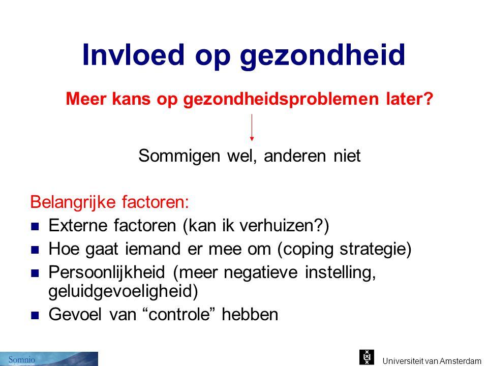 Universiteit van Amsterdam Invloed op gezondheid Meer kans op gezondheidsproblemen later? Sommigen wel, anderen niet Belangrijke factoren: Externe fac