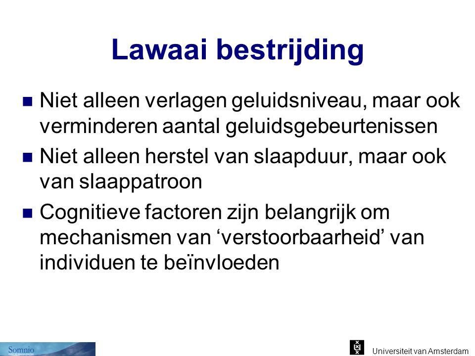 Universiteit van Amsterdam Lawaai bestrijding Niet alleen verlagen geluidsniveau, maar ook verminderen aantal geluidsgebeurtenissen Niet alleen herste