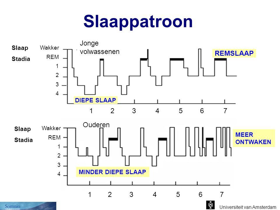 Universiteit van Amsterdam Slaappatroon DIEPE SLAAP REMSLAAP Jonge volwassenen Wakker REM 1 2 3 4 Slaap Stadia 1 2 3 4 5 6 7 Wakker REM 1 2 3 4 Slaap