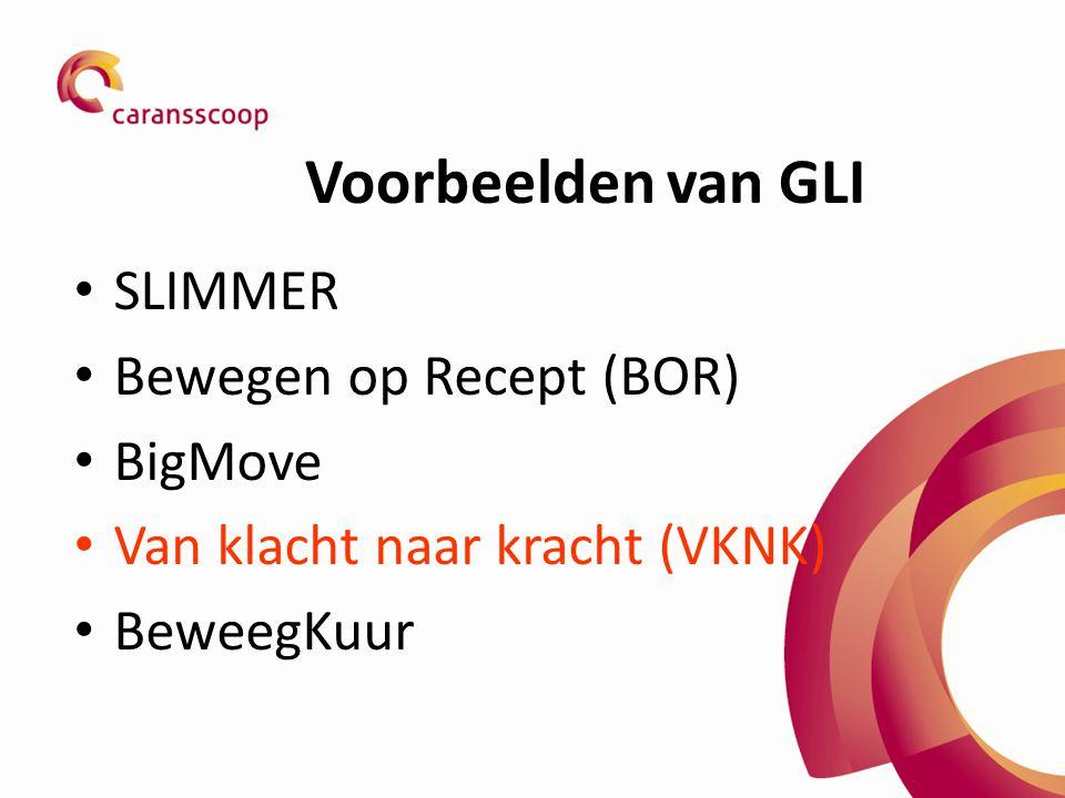 Voorbeelden van GLI SLIMMER Bewegen op Recept (BOR) BigMove Van klacht naar kracht (VKNK) BeweegKuur
