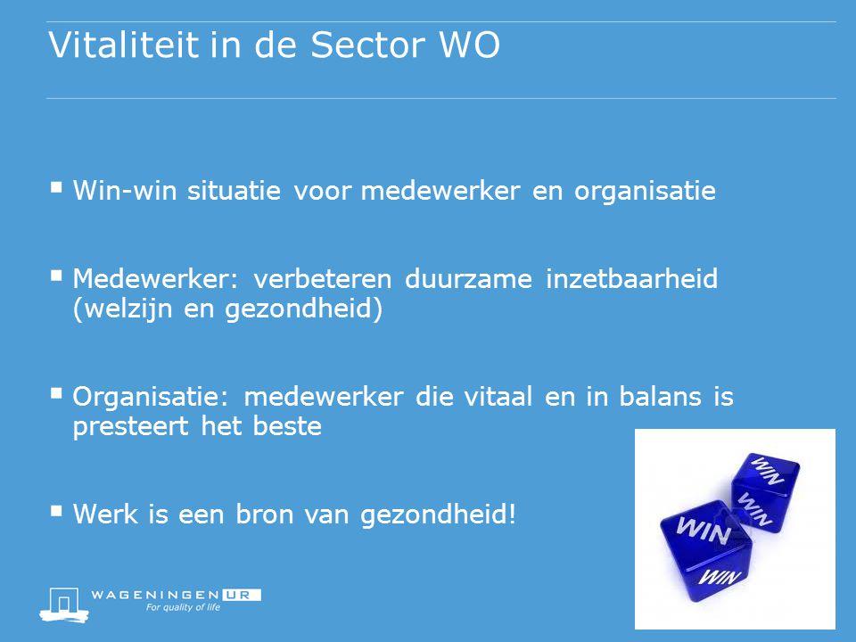 Vitaliteit in de Sector WO  Win-win situatie voor medewerker en organisatie  Medewerker: verbeteren duurzame inzetbaarheid (welzijn en gezondheid)  Organisatie: medewerker die vitaal en in balans is presteert het beste  Werk is een bron van gezondheid!