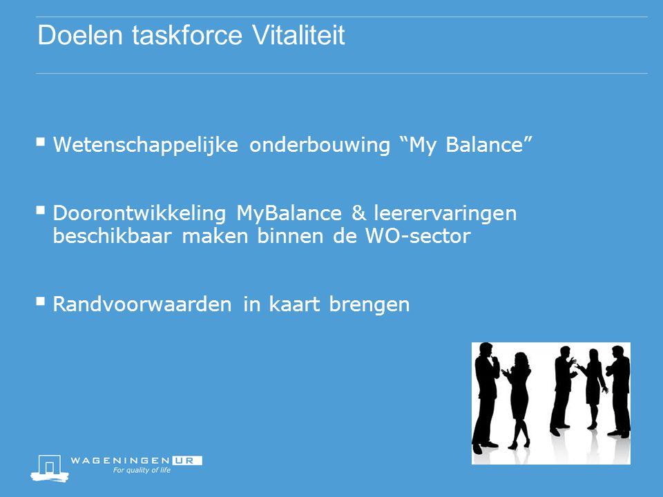 """Doelen taskforce Vitaliteit  Wetenschappelijke onderbouwing """"My Balance""""  Doorontwikkeling MyBalance & leerervaringen beschikbaar maken binnen de WO"""