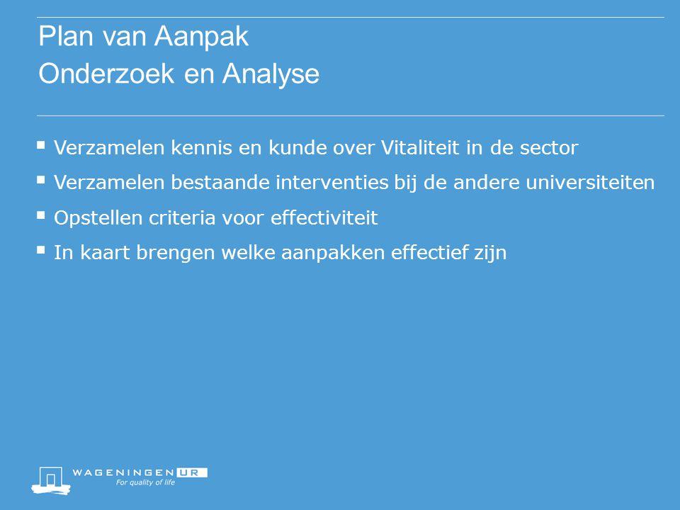 Plan van Aanpak Onderzoek en Analyse  Verzamelen kennis en kunde over Vitaliteit in de sector  Verzamelen bestaande interventies bij de andere unive