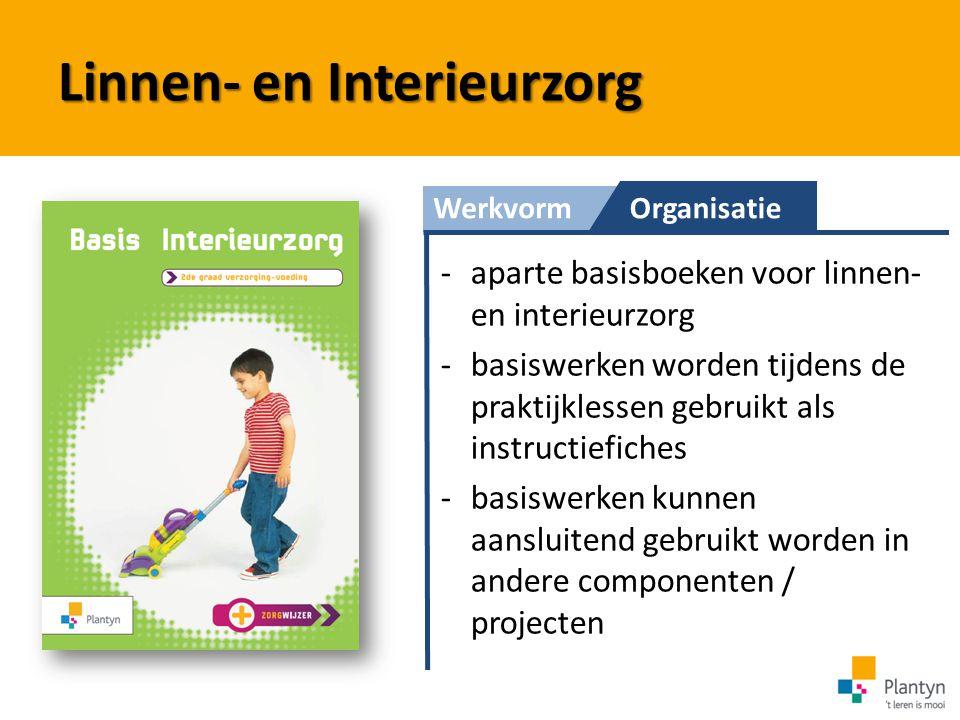 WerkvormOrganisatie Linnen- en Interieurzorg -aparte basisboeken voor linnen- en interieurzorg -basiswerken worden tijdens de praktijklessen gebruikt