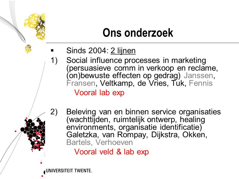 Ons onderzoek  Sinds 2004: 2 lijnen 1)Social influence processes in marketing (persuasieve comm in verkoop en reclame, (on)bewuste effecten op gedrag