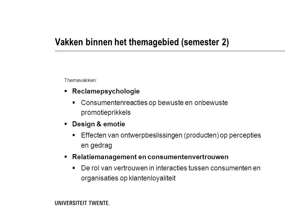 Vakken binnen het themagebied (semester 2) Themavakken:  Reclamepsychologie  Consumentenreacties op bewuste en onbewuste promotieprikkels  Design &
