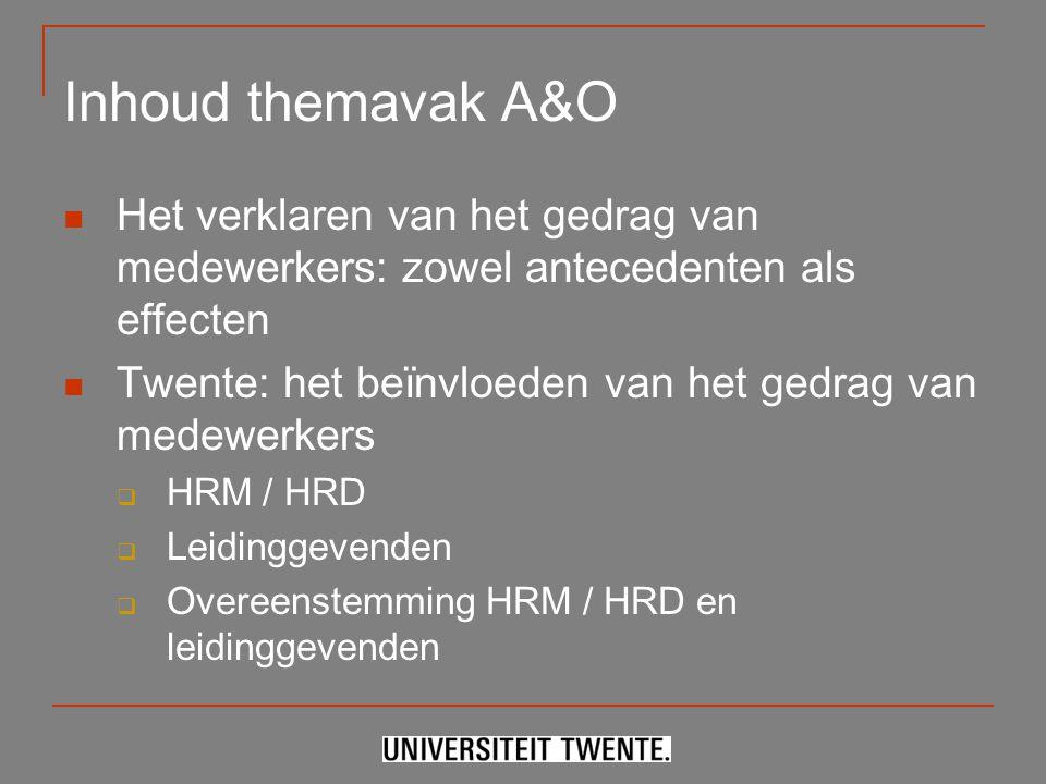 Inhoud themavak A&O Het verklaren van het gedrag van medewerkers: zowel antecedenten als effecten Twente: het beïnvloeden van het gedrag van medewerke