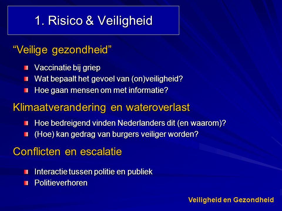 """1. Risico & Veiligheid Vaccinatie bij griep Wat bepaalt het gevoel van (on)veiligheid? Hoe gaan mensen om met informatie? """"Veilige gezondheid"""" Klimaat"""