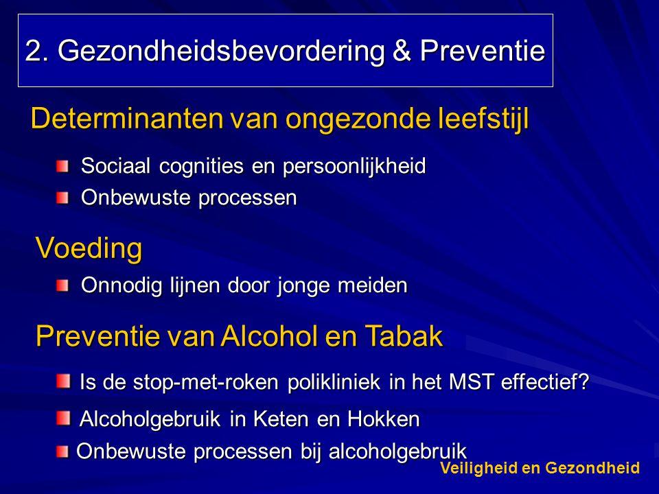 2. Gezondheidsbevordering & Preventie Sociaal cognities en persoonlijkheid Onbewuste processen Determinanten van ongezonde leefstijl Voeding Preventie
