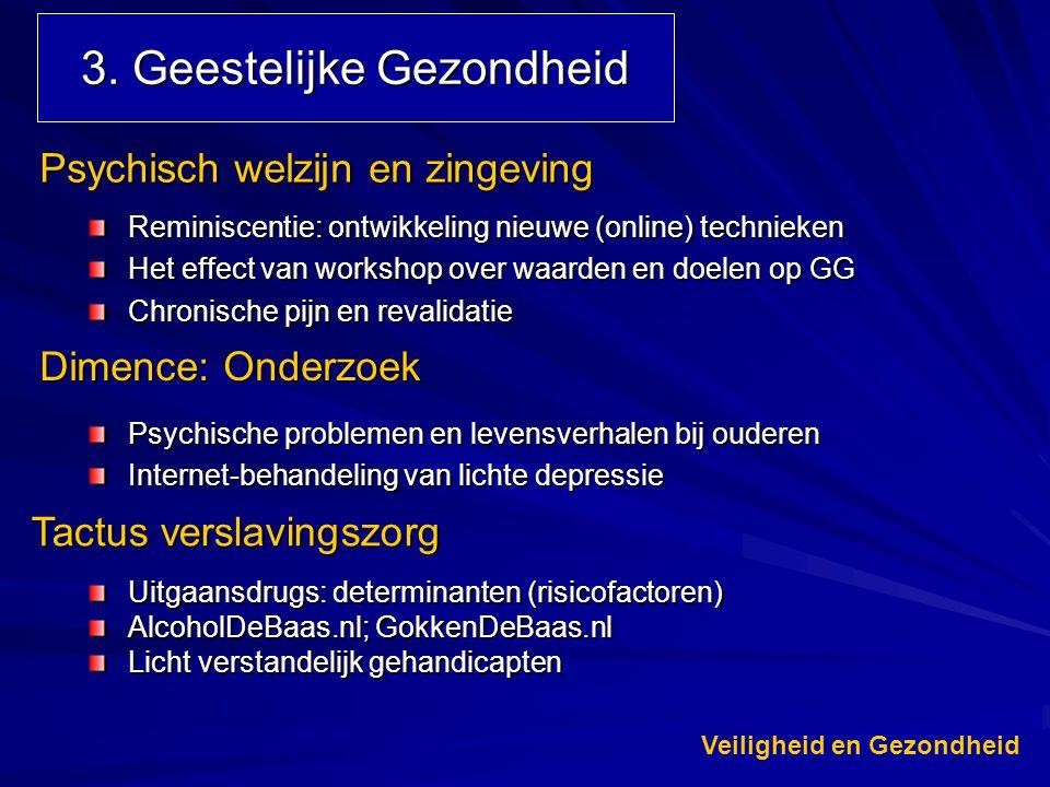 3. Geestelijke Gezondheid Uitgaansdrugs: determinanten (risicofactoren) AlcoholDeBaas.nl; GokkenDeBaas.nl Licht verstandelijk gehandicapten Tactus ver