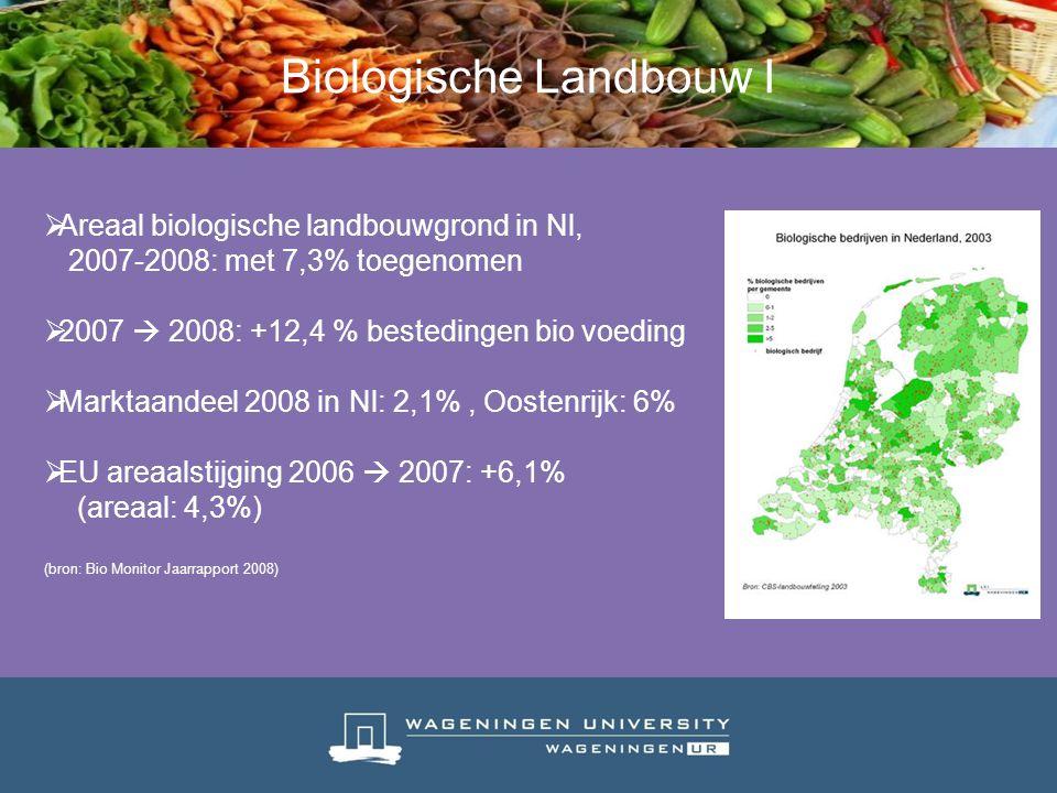  Areaal biologische landbouwgrond in Nl, 2007-2008: met 7,3% toegenomen  2007  2008: +12,4 % bestedingen bio voeding  Marktaandeel 2008 in Nl: 2,1