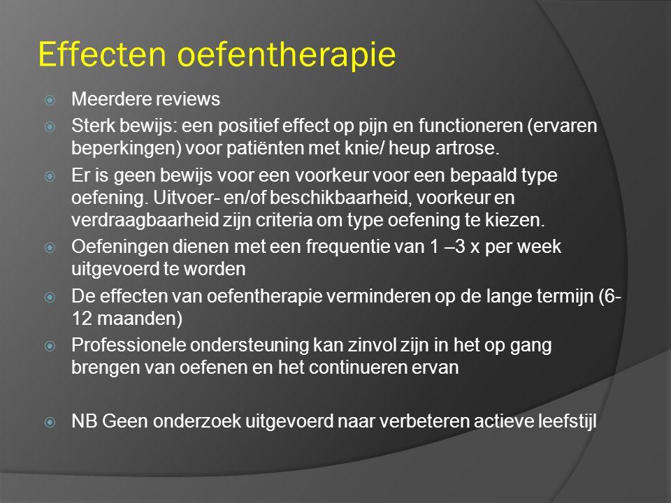 Effecten oefentherapie  Meerdere reviews  Sterk bewijs: een positief effect op pijn en functioneren (ervaren beperkingen) voor patiënten met knie/ heup artrose.