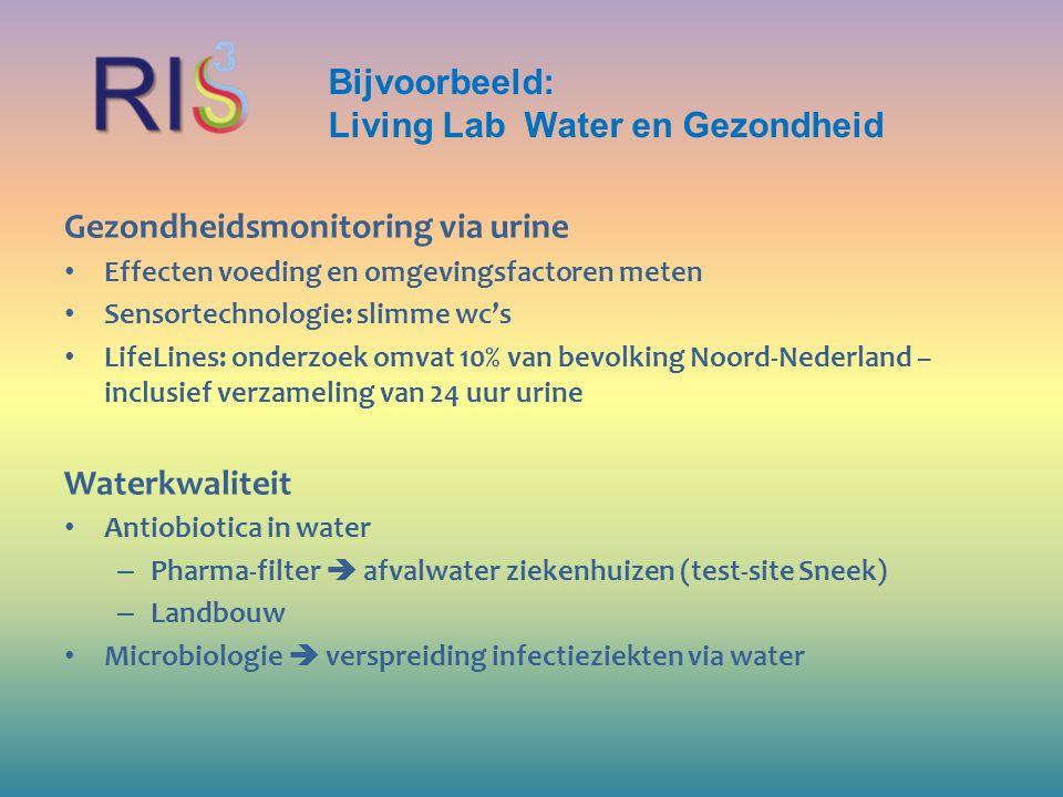 Bijvoorbeeld: Living Lab Water en Gezondheid Gezondheidsmonitoring via urine Effecten voeding en omgevingsfactoren meten Sensortechnologie: slimme wc'