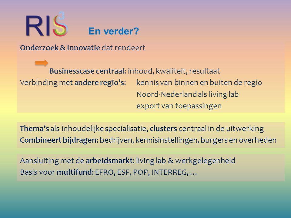 En verder? Onderzoek & Innovatie dat rendeert Businesscase centraal: inhoud, kwaliteit, resultaat Verbinding met andere regio's: kennis van binnen en