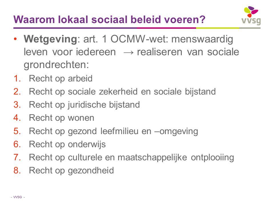 VVSG - Waarom lokaal sociaal beleid voeren? Wetgeving: art. 1 OCMW-wet: menswaardig leven voor iedereen → realiseren van sociale grondrechten: 1.Recht