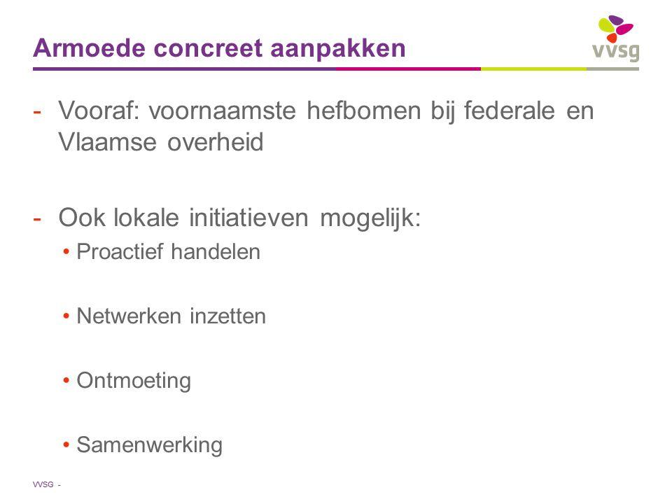 VVSG - Armoede concreet aanpakken -Vooraf: voornaamste hefbomen bij federale en Vlaamse overheid -Ook lokale initiatieven mogelijk: Proactief handelen