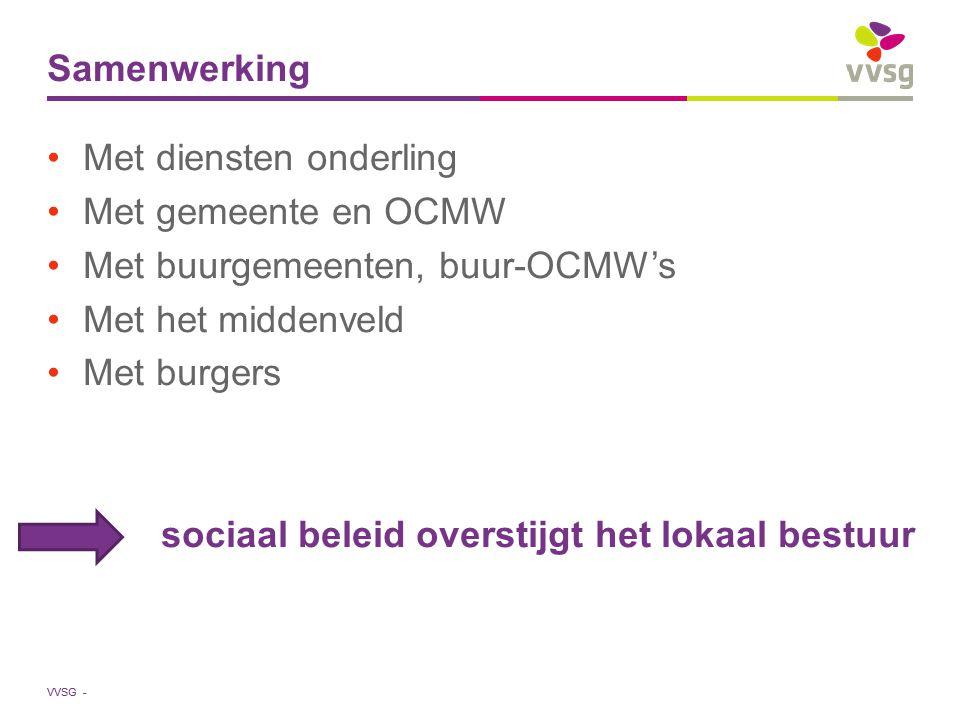 VVSG - Samenwerking Met diensten onderling Met gemeente en OCMW Met buurgemeenten, buur-OCMW's Met het middenveld Met burgers sociaal beleid overstijg