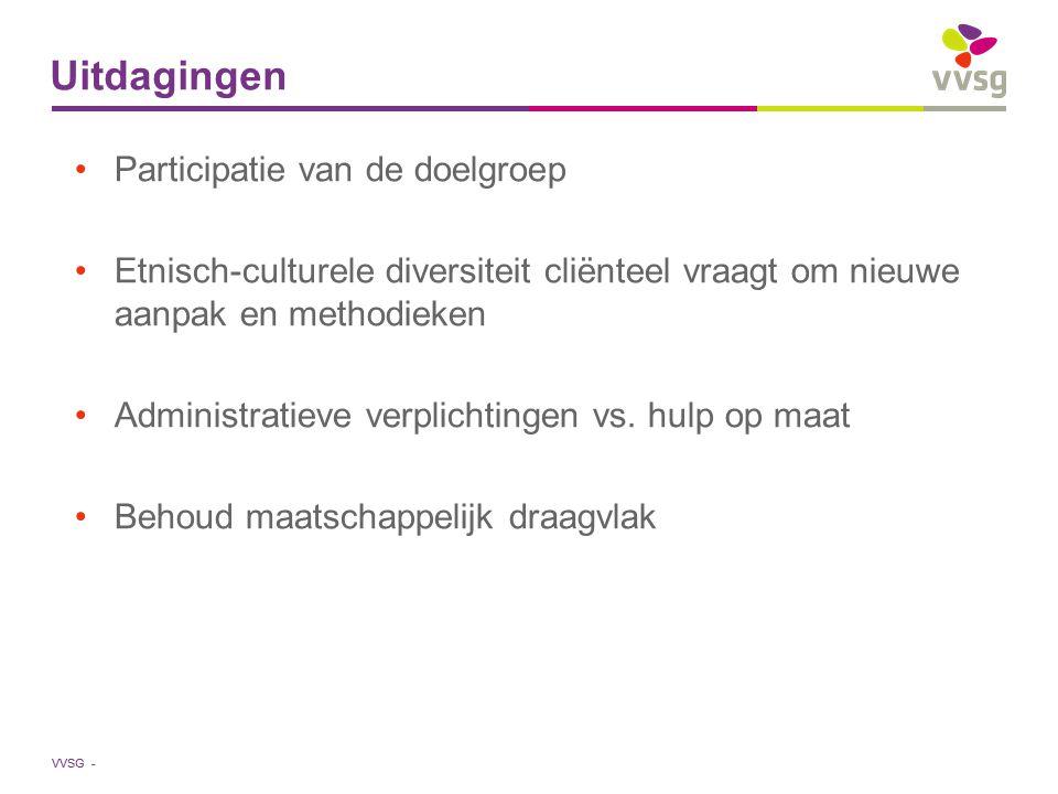 VVSG - Uitdagingen Participatie van de doelgroep Etnisch-culturele diversiteit cliënteel vraagt om nieuwe aanpak en methodieken Administratieve verpli