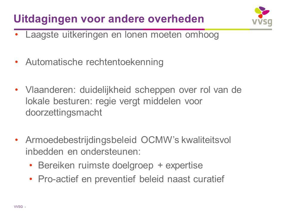VVSG - Uitdagingen voor andere overheden Laagste uitkeringen en lonen moeten omhoog Automatische rechtentoekenning Vlaanderen: duidelijkheid scheppen