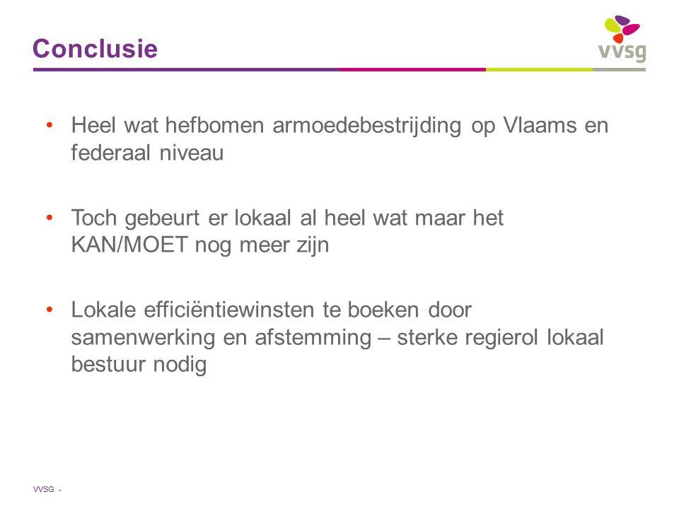VVSG - Conclusie Heel wat hefbomen armoedebestrijding op Vlaams en federaal niveau Toch gebeurt er lokaal al heel wat maar het KAN/MOET nog meer zijn