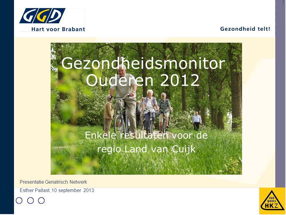 Enkele resultaten voor de regio Land van Cuijk Presentatie Geriatrisch Netwerk Esther Pallast, 10 september 2013 Gezondheidsmonitor Ouderen 2012