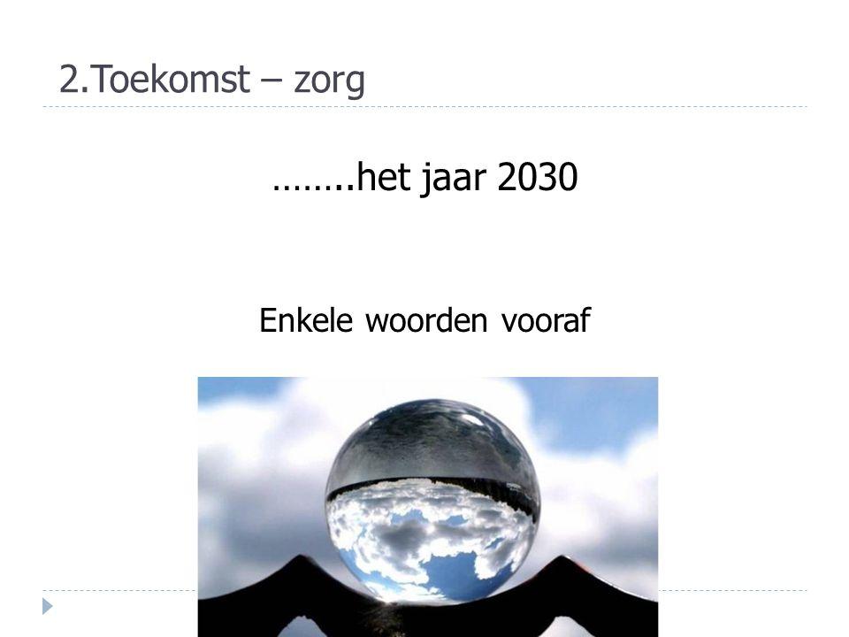 ……..het jaar 2030 Enkele woorden vooraf 2.Toekomst – zorg