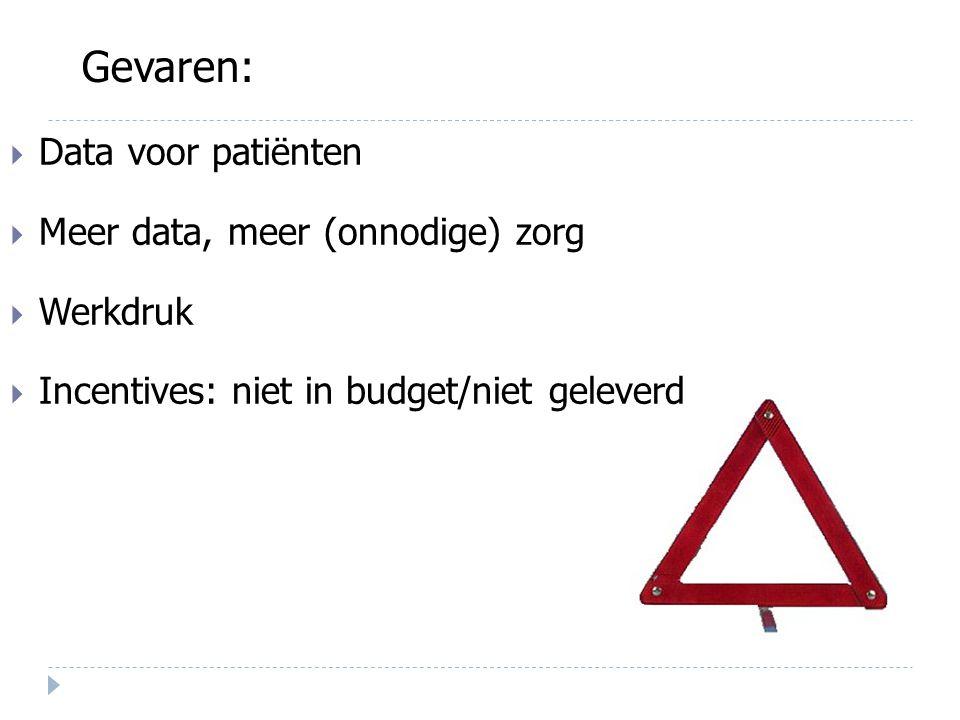 Data voor patiënten  Meer data, meer (onnodige) zorg  Werkdruk  Incentives: niet in budget/niet geleverd Gevaren: