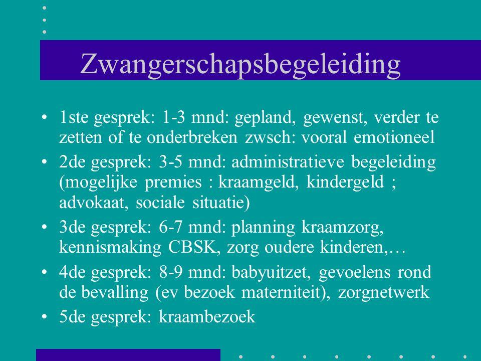Zwangerschapsbegeleiding 1ste gesprek: 1-3 mnd: gepland, gewenst, verder te zetten of te onderbreken zwsch: vooral emotioneel 2de gesprek: 3-5 mnd: ad