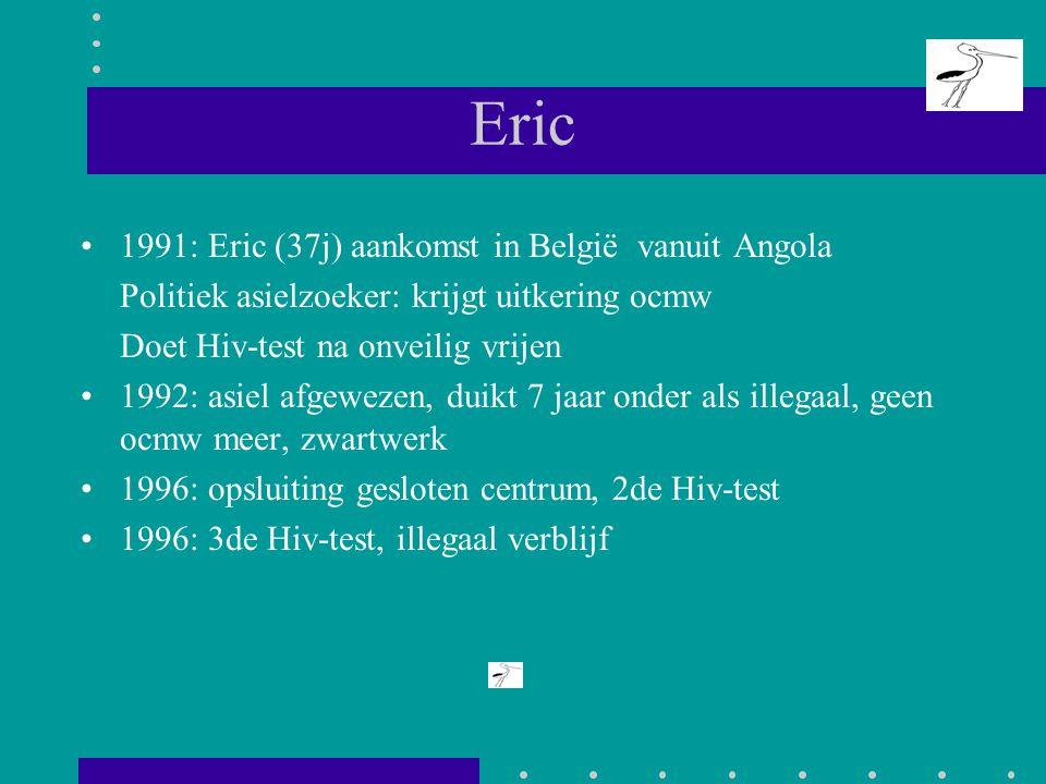 Eric 1991: Eric (37j) aankomst in België vanuit Angola Politiek asielzoeker: krijgt uitkering ocmw Doet Hiv-test na onveilig vrijen 1992: asiel afgewe