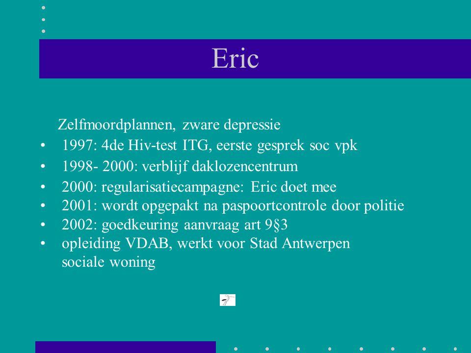Eric Zelfmoordplannen, zware depressie 1997: 4de Hiv-test ITG, eerste gesprek soc vpk 1998- 2000: verblijf daklozencentrum 2000: regularisatiecampagne