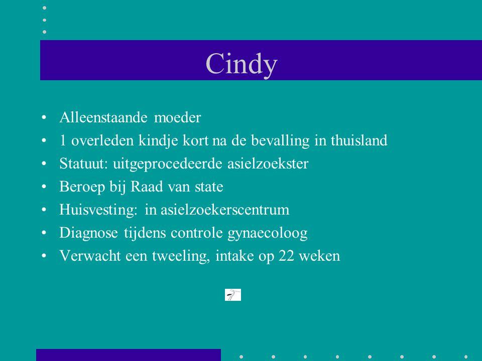 Cindy Alleenstaande moeder 1 overleden kindje kort na de bevalling in thuisland Statuut: uitgeprocedeerde asielzoekster Beroep bij Raad van state Huis
