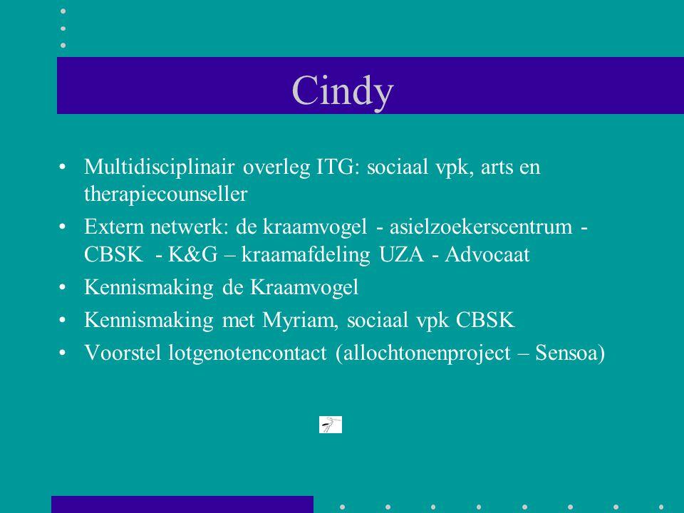Cindy Multidisciplinair overleg ITG: sociaal vpk, arts en therapiecounseller Extern netwerk: de kraamvogel - asielzoekerscentrum - CBSK - K&G – kraama