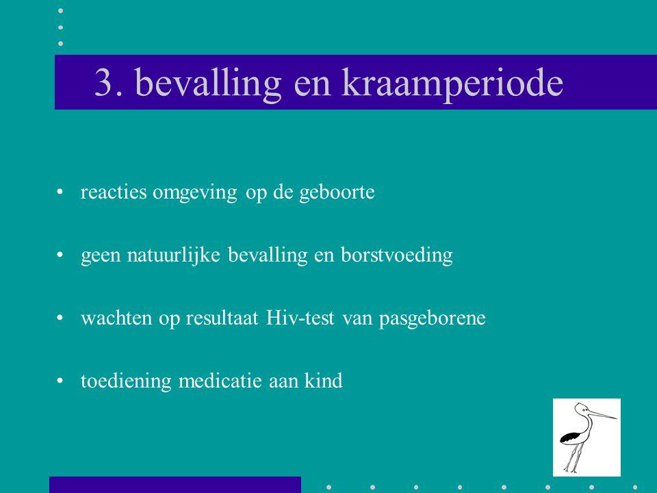 3. bevalling en kraamperiode reacties omgeving op de geboorte geen natuurlijke bevalling en borstvoeding wachten op resultaat Hiv-test van pasgeborene