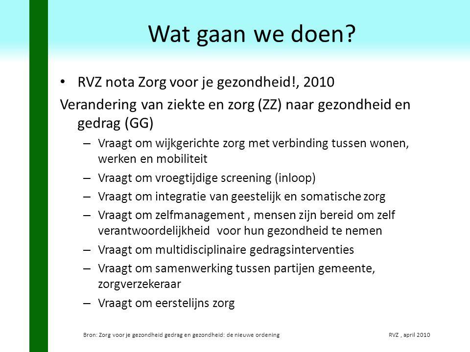 RVZ nota Zorg voor je gezondheid!, 2010 Verandering van ziekte en zorg (ZZ) naar gezondheid en gedrag (GG) – Vraagt om wijkgerichte zorg met verbindin