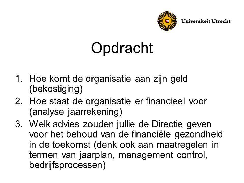 Opdracht 1.Hoe komt de organisatie aan zijn geld (bekostiging) 2.Hoe staat de organisatie er financieel voor (analyse jaarrekening) 3.Welk advies zouden jullie de Directie geven voor het behoud van de financiële gezondheid in de toekomst (denk ook aan maatregelen in termen van jaarplan, management control, bedrijfsprocessen)