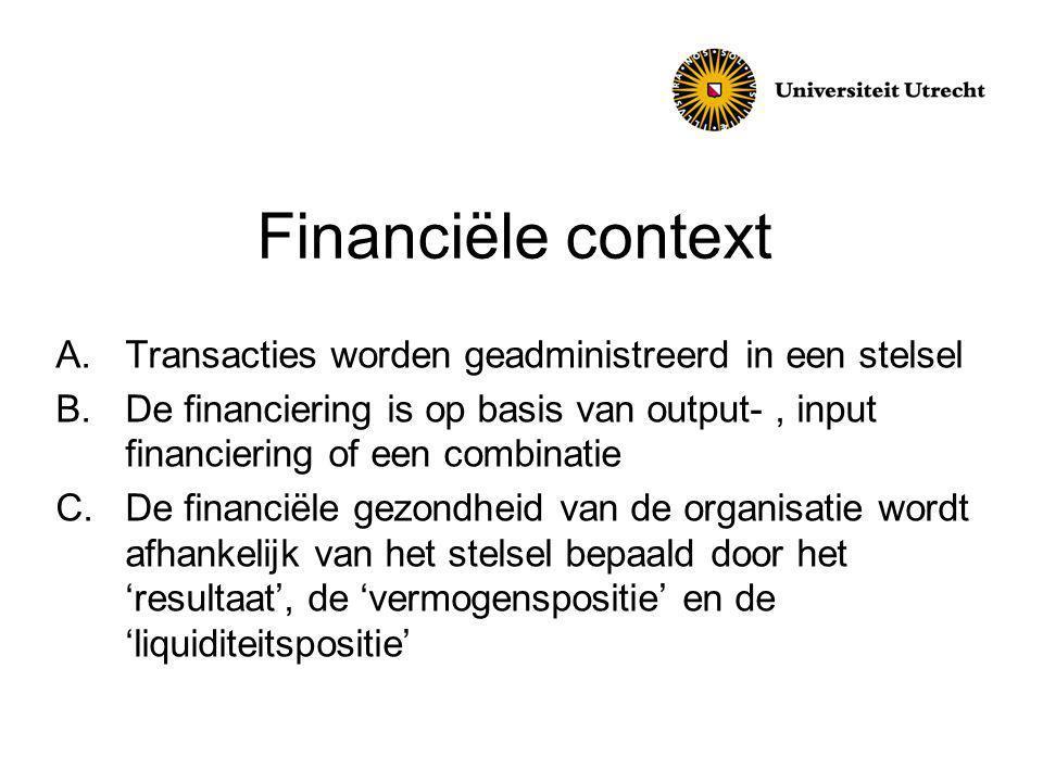 Financiële context A.Transacties worden geadministreerd in een stelsel B.De financiering is op basis van output-, input financiering of een combinatie C.De financiële gezondheid van de organisatie wordt afhankelijk van het stelsel bepaald door het 'resultaat', de 'vermogenspositie' en de 'liquiditeitspositie'