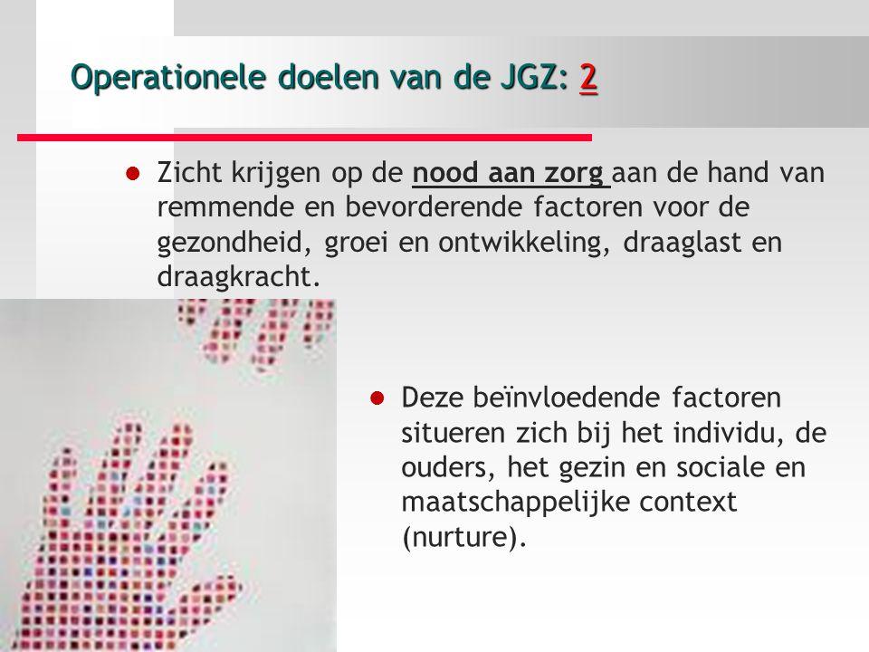 Operationele doelen van de JGZ: 2 Zicht krijgen op de nood aan zorg aan de hand van remmende en bevorderende factoren voor de gezondheid, groei en ontwikkeling, draaglast en draagkracht.