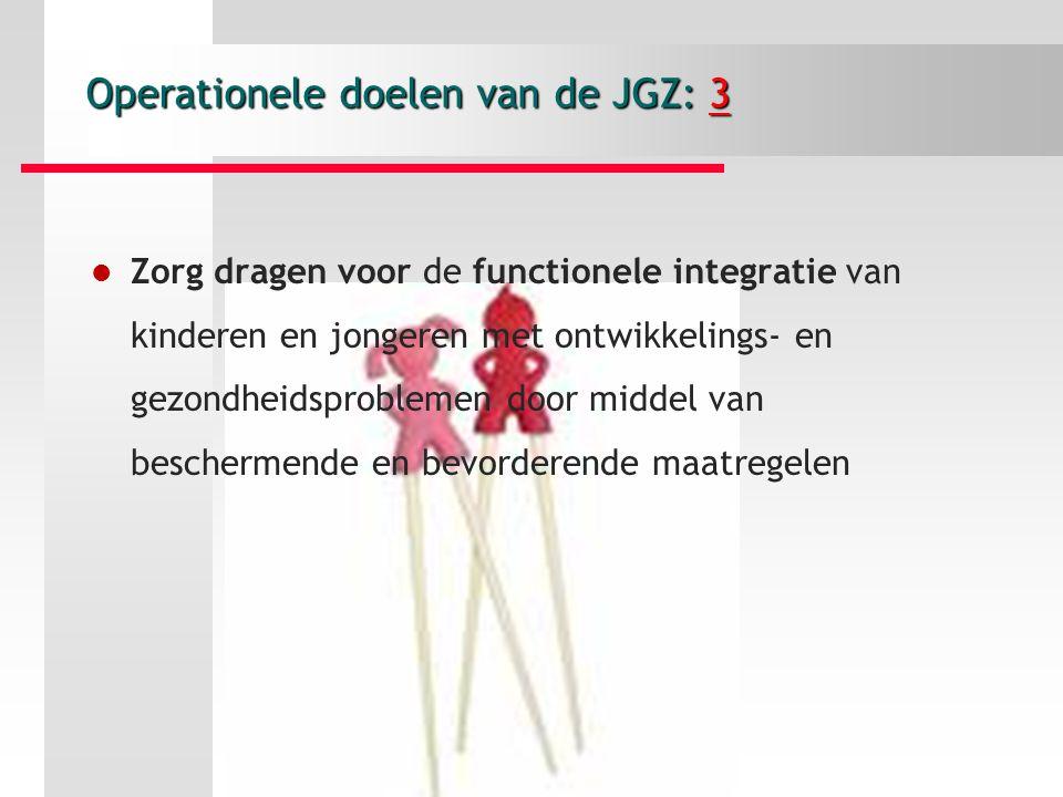 Operationele doelen van de JGZ: 3 Zorg dragen voor de functionele integratie van kinderen en jongeren met ontwikkelings- en gezondheidsproblemen door middel van beschermende en bevorderende maatregelen