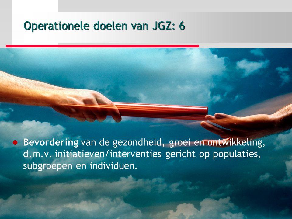 Operationele doelen van JGZ: 6 Bevordering van de gezondheid, groei en ontwikkeling, d.m.v.