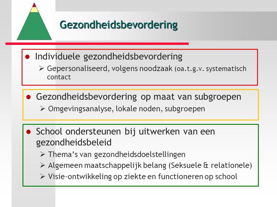 Gezondheidsbevordering School ondersteunen bij uitwerken van een gezondheidsbeleid  Thema's van gezondheidsdoelstellingen  Algemeen maatschappelijk belang (Seksuele & relationele)  Visie-ontwikkeling op ziekte en functioneren op school Gezondheidsbevordering op maat van subgroepen  Omgevingsanalyse, lokale noden, subgroepen Individuele gezondheidsbevordering  Gepersonaliseerd, volgens noodzaak (oa.t.g.v.
