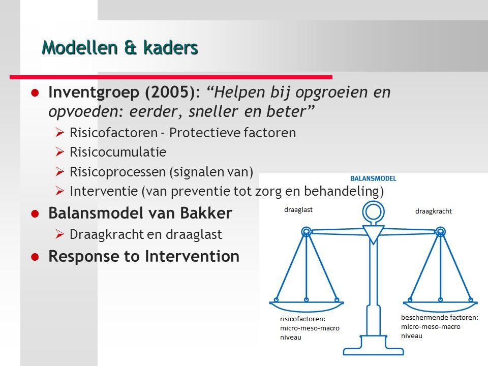 Modellen & kaders Inventgroep (2005): Helpen bij opgroeien en opvoeden: eerder, sneller en beter  Risicofactoren - Protectieve factoren  Risicocumulatie  Risicoprocessen (signalen van)  Interventie (van preventie tot zorg en behandeling) Balansmodel van Bakker  Draagkracht en draaglast Response to Intervention