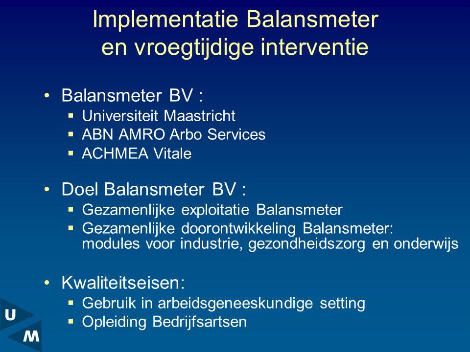 Implementatie Balansmeter en vroegtijdige interventie Balansmeter BV :  Universiteit Maastricht  ABN AMRO Arbo Services  ACHMEA Vitale Doel Balansmeter BV :  Gezamenlijke exploitatie Balansmeter  Gezamenlijke doorontwikkeling Balansmeter: modules voor industrie, gezondheidszorg en onderwijs Kwaliteitseisen:  Gebruik in arbeidsgeneeskundige setting  Opleiding Bedrijfsartsen