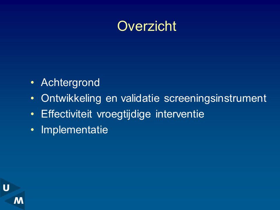 Overzicht Achtergrond Ontwikkeling en validatie screeningsinstrument Effectiviteit vroegtijdige interventie Implementatie