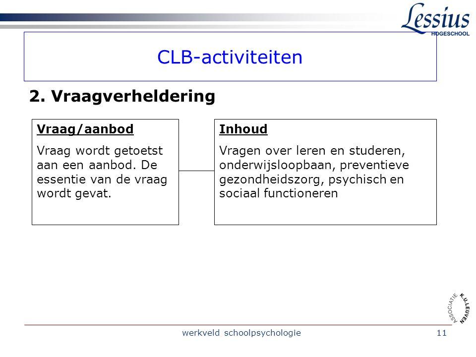 werkveld schoolpsychologie11 CLB-activiteiten 2.