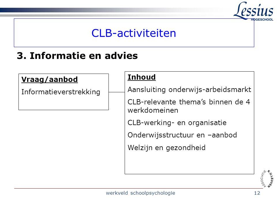 werkveld schoolpsychologie12 CLB-activiteiten 3.