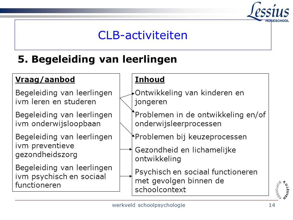 werkveld schoolpsychologie14 CLB-activiteiten 5.
