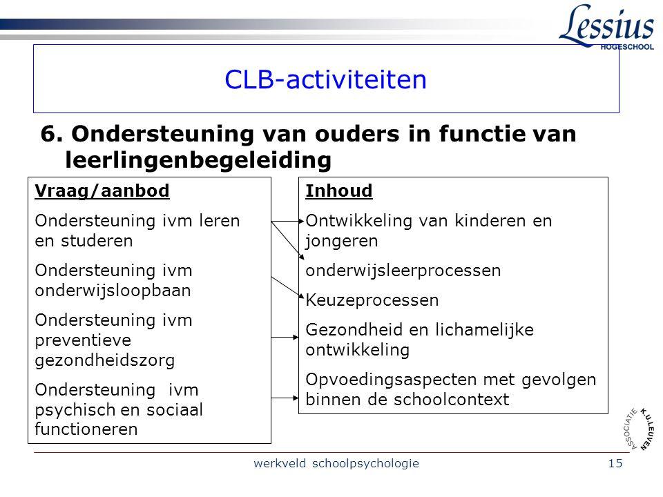 werkveld schoolpsychologie15 CLB-activiteiten 6.